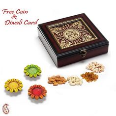 Ganapati wooden Dry fruit Box with Diyas - Online Shopping for Diwali Sweet Hampers by Apno Rajasthan