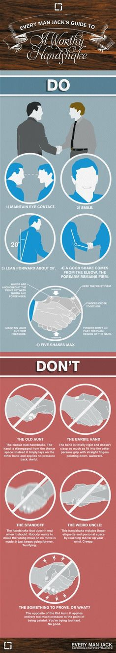 """The Dos and Don'ts of giving a handshake. 