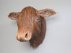Brown Cow Animal Sculptures, Wall Sculptures, Lion Sculpture, Willow Weaving, Basket Weaving, Plaster Wall Lights, Twig Art, Forest Drawing, Cow Head