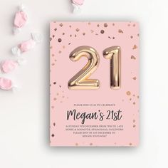 21st Birthday Party Rose Gold Balloon Printable Invitation Template