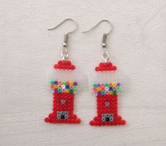 Gumball Machine Perler Bead Earrings