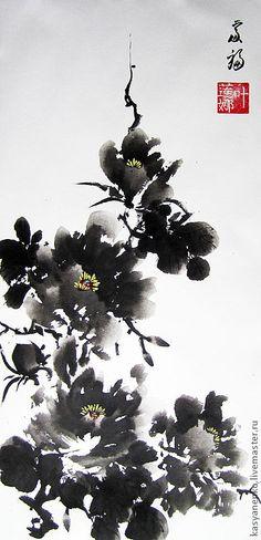 Купить Черный пион - елена касьяненко, пионы, китайская живопись, гохуа, картина с цветами