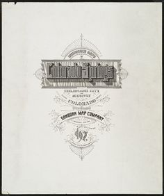 Colorado Springs, Colorado - 1907.  Sanborn Fire Insurance Map. Typography  Title pages, headings and letterforms clipped, cropped and isolated  from maps and map publications issued between about 1880 and 1920.