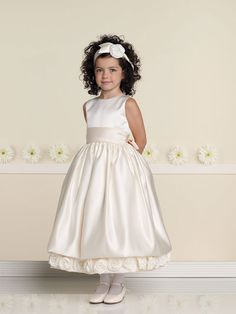 Perfect A-line satin sleeveless flower girl dress
