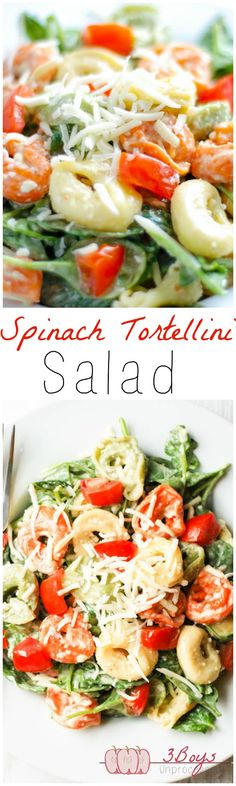 Spinach and Tortellini Salad: The perfect balance of yummy + healthy. Complete with a delicious and easy homemade dressing that comes together in minutes! || www.3boysunprocessed.com