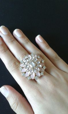 Baby pink/ Ring/ with sliver studs/ elegant and stylish
