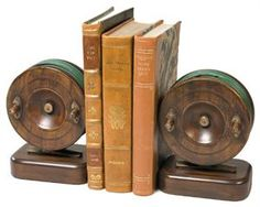 Vintage Wooden Look Fly Fishing Reel Bookends