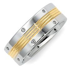 Two Tone Men's Wedding Band in 14K White and Yellow Gold
