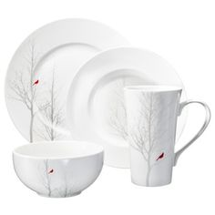 Winter Cardinal Round 16 piece Dinnerware Set, cutest and most modern holiday dinnerware ive seen, comes in square too.