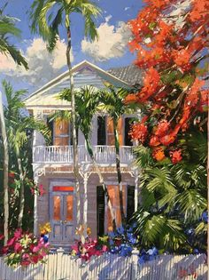 Key West, Watercolor Architecture, Caribbean Art, West Art, Tropical Art, Beach Art, Watercolor Paintings, Watercolors, Painting Inspiration