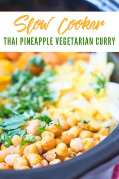 This slow cooker Thai pineapple vegetarian curry is loved by the whole family! An easy, delicious vegetarian recipe with FRESH pineapple. This Thai pineapple vegetarian curry is everything I've been craving but couldn't quite put my finger on. It's spicy yet sweet, complex yet easy, weeknight-friendly yet company-ready, bold yet familiar. And of course it's family-friendly. #healthybudget-friendlymeals #healthyfood #healthyfoodplan #healthyfoodrecipes Lunch Recipes, Real Food Recipes, Vegetarian Recipes, Cooking Recipes, Healthy Recipes, Meat Recipes, Dinner Recipes, Yummy Food, Cooked Pineapple