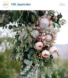 Nice mix of floral and succulents. Protea Bouquet for a Hawaii destination wedding Protea Wedding, Floral Wedding, Wedding Bouquets, Floral Arch, Arte Floral, Flor Protea, Protea Bouquet, Ceremony Decorations, Spring Wedding