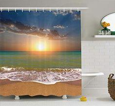 Ambesonne Idyllic Scenery Sunset At The Beach Shower Curtain - Shower Curtains Boutique Ocean Bathroom Themes, Pirate Bathroom Decor, Beach Bathrooms, Bathroom Kids, Neutral Bathroom Colors, Ocean Shower Curtain, Walk In Shower Designs, Scenery, House Styles