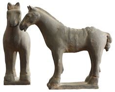 Chinese Ceramic Pottery Horses, Pair   The Neutral Zone   One Kings Lane