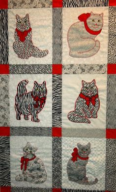 Anna's Awesome Appliques: Cats - Black, White and Red