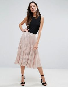 Pleated Lame Skirt by Warehouse. Skirt by Warehouse, Satin-style fabric, Pleated design, High-rise waist, Zip-back fastening, Regular fit - true to si...