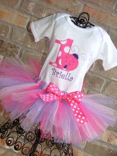 Pink and Purple Ladybug Birthday Tutu Outfit