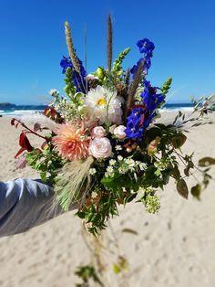 Wild summer wedding bouquet Blossomandkelp.co.uk