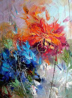 Paintings by Lyubomir Kolarov--orange, blue fascinating brushstrokes More