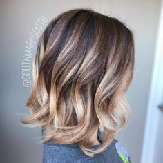 Rose-Gold/Pearl-Blonde Balayage for Spunky Medium Ash Brown Lob