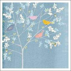 Birdsong greeting card by Claire Hocking. The card is left blank inside for your own greeting. Bird Illustration, Pretty Patterns, Bird Cage, Bird Feathers, Greeting Cards, Paper Crafts, Colours, Claire, Texture