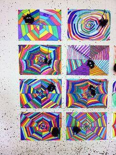 Art in elementary school: Colorful spider webs - Halloween Kunst, Halloween Art Projects, Fall Art Projects, School Art Projects, Kindergarten Art, Preschool Art, Fall Crafts, Kids Crafts, Primary School Art