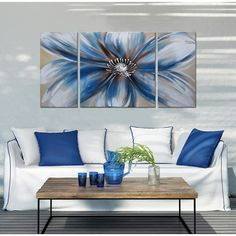 Handpainted 'Abstract Flower 681' 3-piece Multicolored Gallery-wrapped Canvas Art Set | Overstock.com Shopping - The Best Deals on Gallery Wrapped Canvas