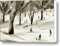 Sledding in the Snow Watercolor Painting of Central Park NYC Canvas Print / Canvas Art - Artist B...