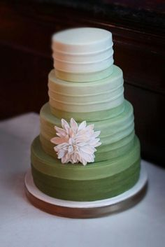 Green ombre wedding cake without cake topper Unusual Wedding Cakes, Unique Cakes, Sage Green Wedding, Blue Wedding, Ombre Cake, Cake Photography, Love Cake, Pretty Cakes, Cake Creations