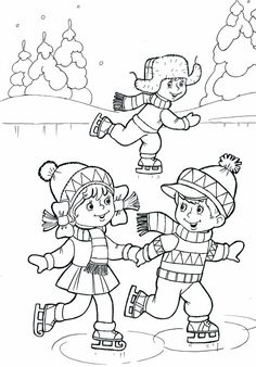 Children ice skating coloring page Coloring Pages Winter, Coloring Sheets For Kids, Mandala Coloring Pages, Animal Coloring Pages, Coloring Book Pages, Winter Crafts For Kids, Winter Kids, Winter Art, Winter Theme