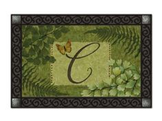 """Nature's Script Monogram C Doormat by MatMates. $15.99. *****doormat tray not included******. 18"""" x 30"""" dye sublimated. weather proof for indoor/outdoor use. non-slip recycled rubber backing. MatMates are the latest addition to Magnet Works' lineup of high-quality decorative accessories. These beautiful mats are permanently dyed with state-of-the-art sublimation printing and made with an all-weather recycled rubber backing.  They measure 18"""" x 30""""."""