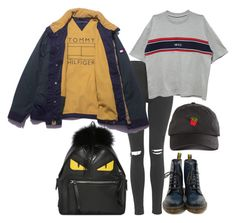 """☁️Rayame☁️"" by rayame ❤ liked on Polyvore featuring Topshop, Dr. Martens and Fendi"