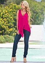 ruffle front blouse, jeans, silver bangle set