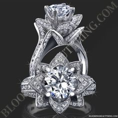 Very Unique Engagement Rings, Rose Flower Engagement Rings, Antique & Vintage Rings. The Blooming Beauty Rings are One of a Kind Designer Rose Rings. Round Diamond Engagement Rings, Designer Engagement Rings, Diamond Rings, Diamond Cuts, Thing 1, Ring Verlobung, Hand Ring, Round Diamonds, Wedding Rings