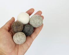 Natural Wool Cat Toys - 5x 3cm Wool Felt Ball - Mix of Natural Grey, Brown and Cream Felted Balls - Small Dog Toy - Pet Stocking Stuffer
