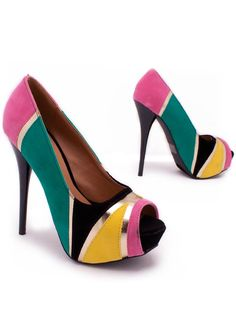 colorblock peep toe pump