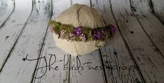 Organic purple flower tie back ..newborn and children photography prop
