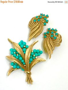 Trifari Floriated Demi Parure, Brooch and Earrings, Turquoise Beads Ice Accents, Textured Gold Tone Metal, by Vintageimagine on Etsy https://www.etsy.com/listing/274298566/trifari-floriated-demi-parure-brooch-and