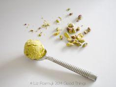 Pistachio ice cream with saffron and rose water