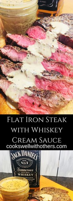 Flat Iron Steak with Whiskey Cream Sauce takes 30 minutes and only 7 ingredients! Flat Iron Steak with Whiskey Cream Sauce - Steak with a delicious and decadent whiskey cream sauce Easy Steak Recipes, Grilled Steak Recipes, Meat Recipes, Cooking Recipes, Healthy Recipes, Grilling Recipes, Cooking Tips, Cooking Chef, Minute Steak Recipes