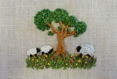 tiny sheep under a tree Bullion Embroidery, Hand Embroidery Videos, Hand Embroidery Stitches, Silk Ribbon Embroidery, Embroidery Techniques, Abstract Embroidery, Embroidery Art, Embroidery Designs, Sheep Crafts