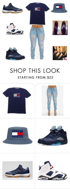 """""""tommy hilfiger"""" by aleisharodriguez ❤ liked on Polyvore featuring NIKE"""