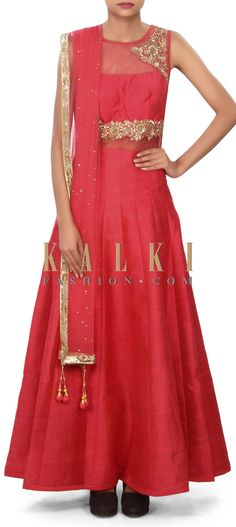 Buy Online from the link below. We ship worldwide (Free Shipping over US$100) Price- $249 Click Anywhere to Tag http://www.kalkifashion.com/coral-anarkali-suit-adorn-in-zardosi-and-sequin-embroidery-only-on-kalki.html
