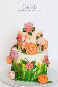 Learn how to paint a cake using buttercream and a palette knife, giving your cakes a watercolor painted effect. An inspiring cake tutorial by Miso Bakes.