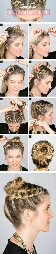 How-To: Chic Shoelace Braid How To Create A Shoelace Braid Updo. maybe just do it on one side and not part in the middle?How To Create A Shoelace Braid Updo. maybe just do it on one side and not part in the middle? Braided Crown Hairstyles, Pretty Hairstyles, Easy Hairstyles, Girl Hairstyles, Wedding Hairstyles, Braided Updo, Fishtail Bun, Beautiful Haircuts, Knot Braid