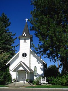 """Angelina's Canby Pioneer Chapel   """"Little White Chapel""""     Canby, Oregon CIRCA 1884 church in Oregon"""