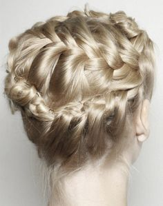 Every braided updo I see now, I imagine wearing it. Every braided updo I see now, I imagine wearing it. Pretty Hairstyles, Girl Hairstyles, Braided Hairstyles, Wedding Hairstyles, Style Hairstyle, Blonde Braids, Blonde Hair, Corte Y Color, Twist Braids