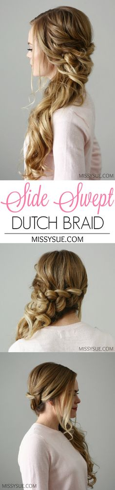 New Years Eve is nearly here and this side swept dutch braid would be the perfect party look! Whether you're going out to dinner with that special someone or dancing the night away, this look is glamorous yet effortless with its bouncy curls and peek-a-boo…
