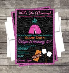 Glamping Party Camping Invitation Customized by PinkSugarPartyShop