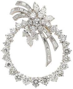 Estate Jewelry:Brooches - Pins, Diamond, Platinum Pendant-Brooch circa 1942